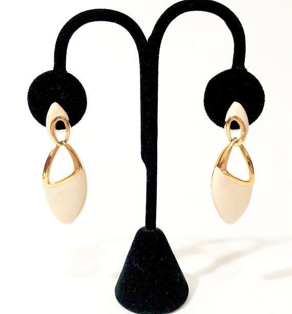 f6dc9f95725a6 Napier Enamel Earrings Gold Tone Ivory Dangle Earrings Modern Oval ...