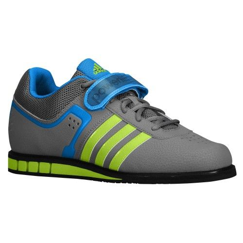 Adidas Mens Powerlift Trainer 2 Weightlifting Shoes - Grey/Solar  Green/Solar Blue 7 D(M) US.