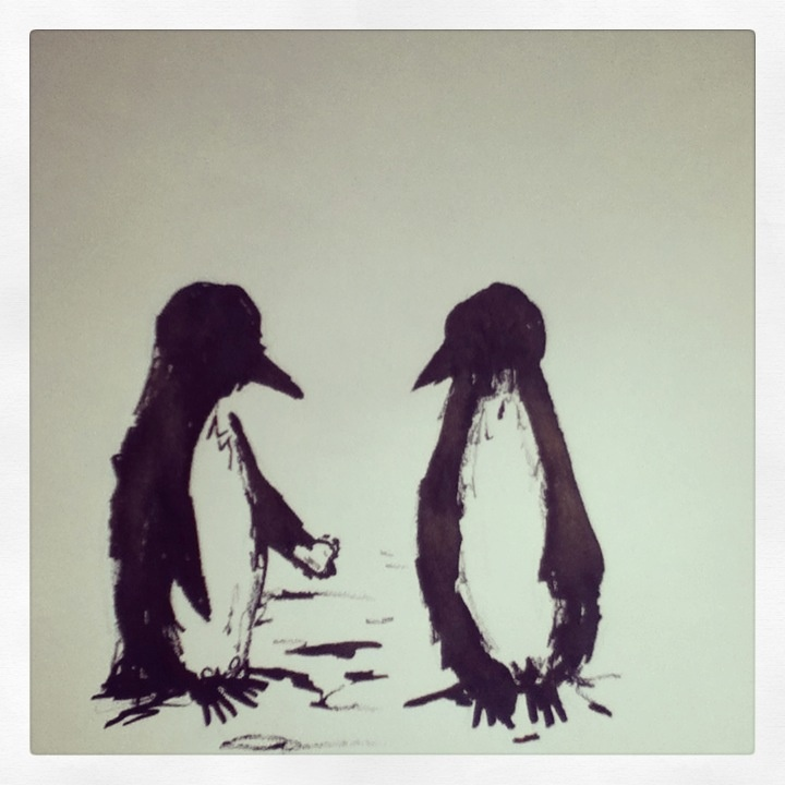 Penguin love (greeting card brief) #illustration #penguin #cute #heart