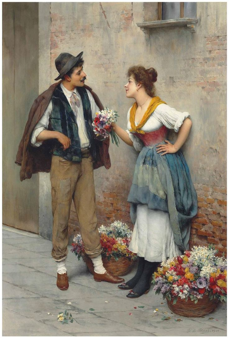 Eugen von Blaas (1843-1931) The flower seller