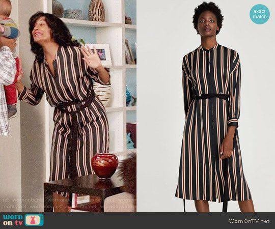 ac3d0246ec31 Rainbow s striped midi shirtdress on Black-ish in 2019