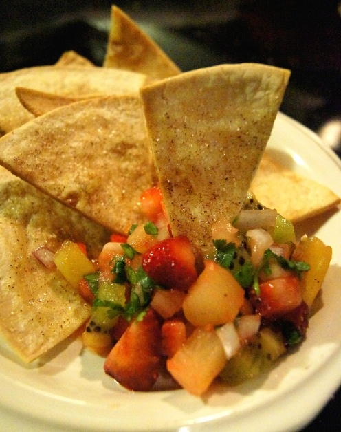 strawberry, mango, kiwi, pineapple salsa with cinnamon chips