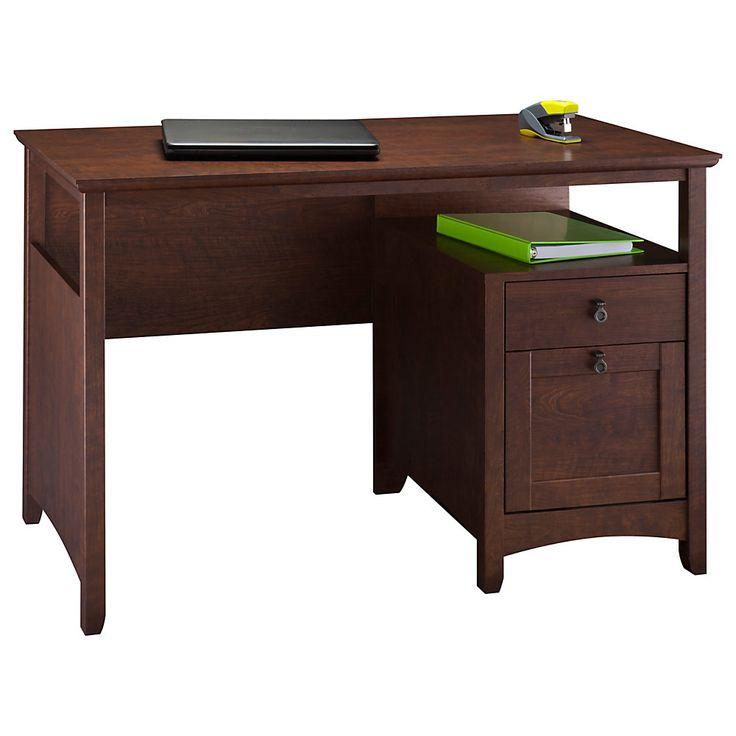 bush buena vista woodgrain single pedestal desk 30 18 h x 47 14 w x 22 12 d madison cherry by office depot u0026 officemax