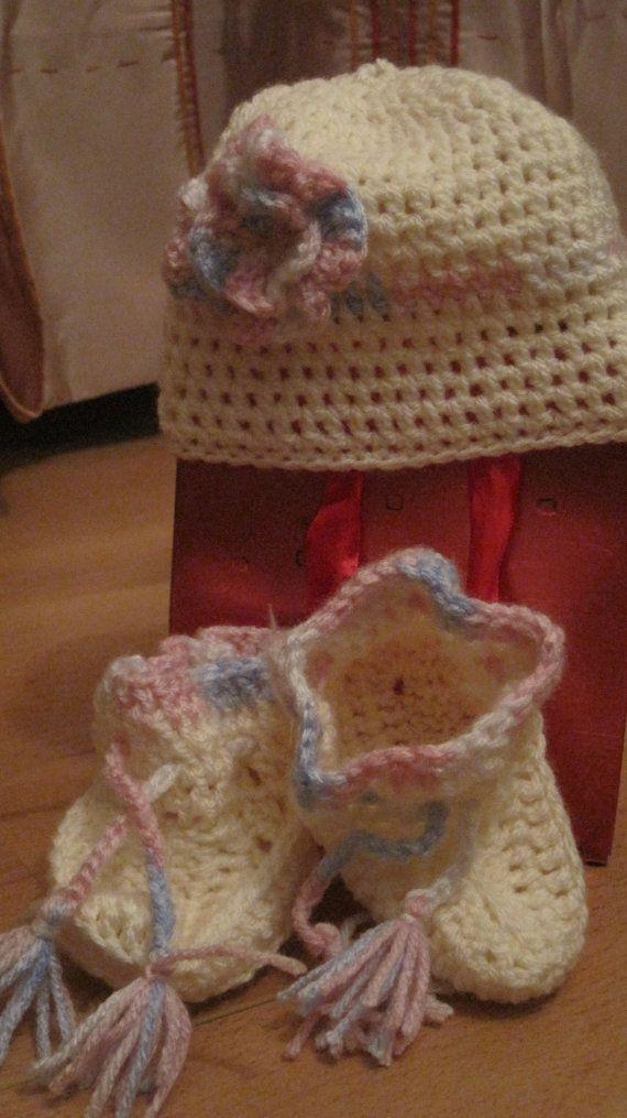 The Peach Pale Pink Baby Blue Handknitted 2 by PretzyHandmady, $20.00