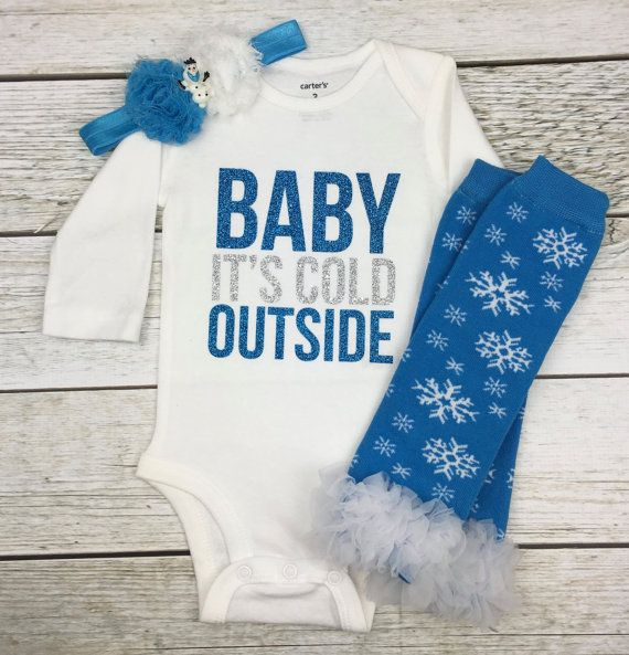 Baby Girl Christmas Outfit Baby It's Cold by SimplySwankyDesigns
