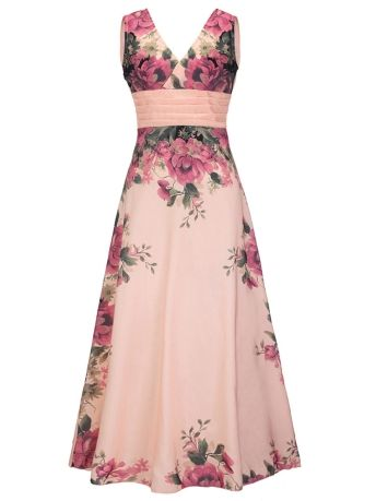 Pink Sleeveless Floral Printed Women's Maxi Dress