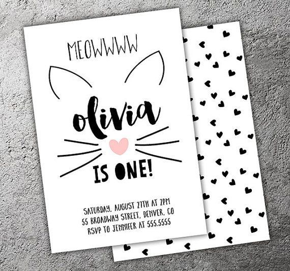 Kitty Cat Monochrome Birthday Invitation - Printable - FREE matching back side and like OMG! get some yourself some pawtastic adorable cat shirts, cat socks, and other cat apparel by tapping the pin!