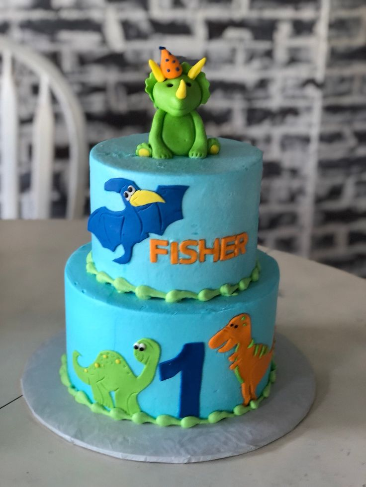 Dinosaur cake dinosaur party fondant cake topper by