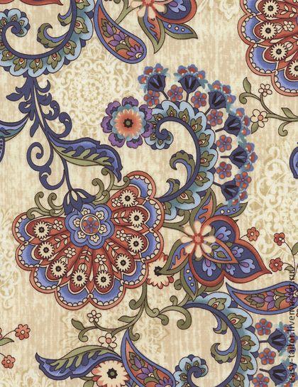 Американский хлопок РУССКИЕ УЗОРЫ 38 - растительный орнамент,растительный узор