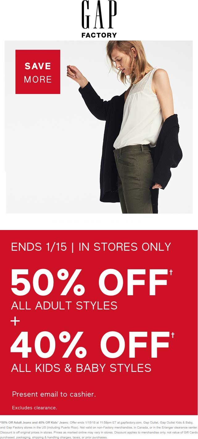 Pinned January 11th: Extra 50% off all adult 40% off kids at #Gap Outlet #Gap Outlet Kids' & Baby or #Gap Factory #TheCouponsApp