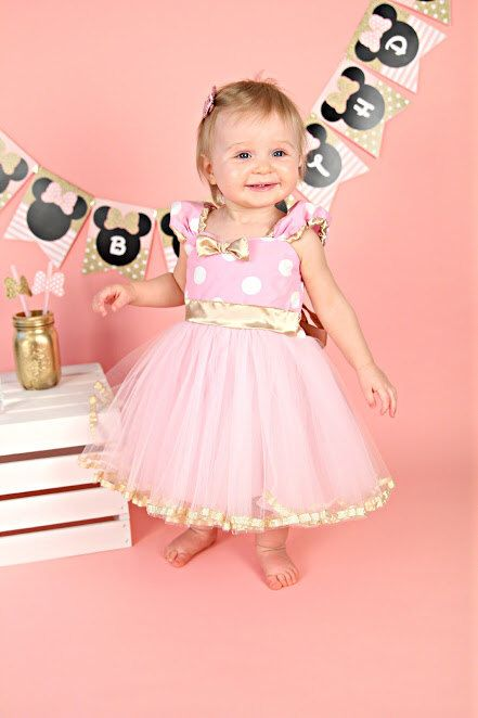Pink and Gold dress birthday dress MINNIE MOUSE dress Minnie  TUTU  Party Dress for pink and gold first birthday by loverdoversclothing on Etsy https://www.etsy.com/listing/236751990/pink-and-gold-dress-birthday-dress