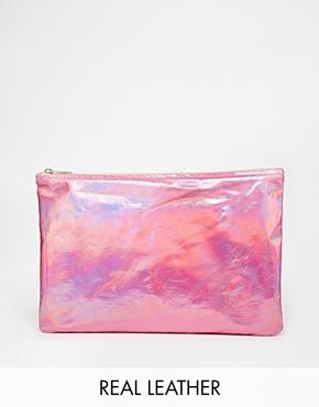 Enlarge American Apparel  Iridescent Leather Clutch in Pink