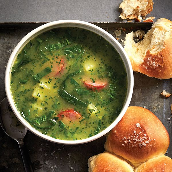This isn't a traditional potato soup: Kale gives this Portuguese caldo verde its distinctive green hue. Find the recipe & more soup ideas at Chatelaine.com