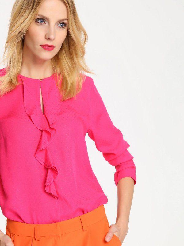 W2017 koszula długi rękaw damska gładka różowa - SKL2027 TOP SECRET