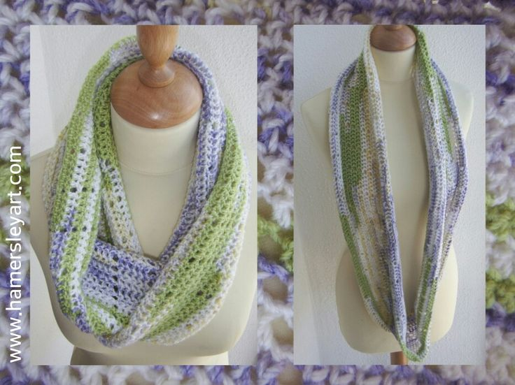 I love infinity scarves! They are so practical and wearable, This acrylic lime and lilac is hot off the needles, It would be lovely over a plain t-shirt, If you are fair skinned like me it should help to stop you getting the back of your neck sunburned. Email or PM for details. Www.hamersleyart.com