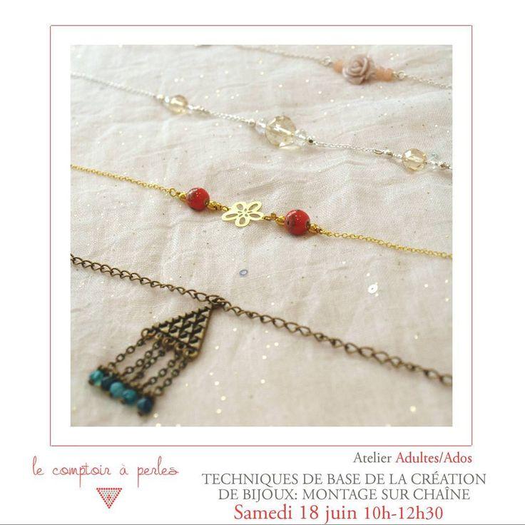 ATELIER SUITE... - Et cette semaine, il reste encore des places pour l'atelier montage sur chaîne et c'est ce samedi! L'occasion d'apprendre une technique de base de la création de bijoux et qui vous permettra de personnaliser tous vos bijoux... A saisir! 😉 Informations et réservations: lien dans la bio! #lecomptoiraperles #perles #chaîne #beads #workshop #atelier #beading #beadaddict #handmade #handmadejewelry #instajewels #faitmain #DIY #creation #creativity #bracelet #collier #couleurs…
