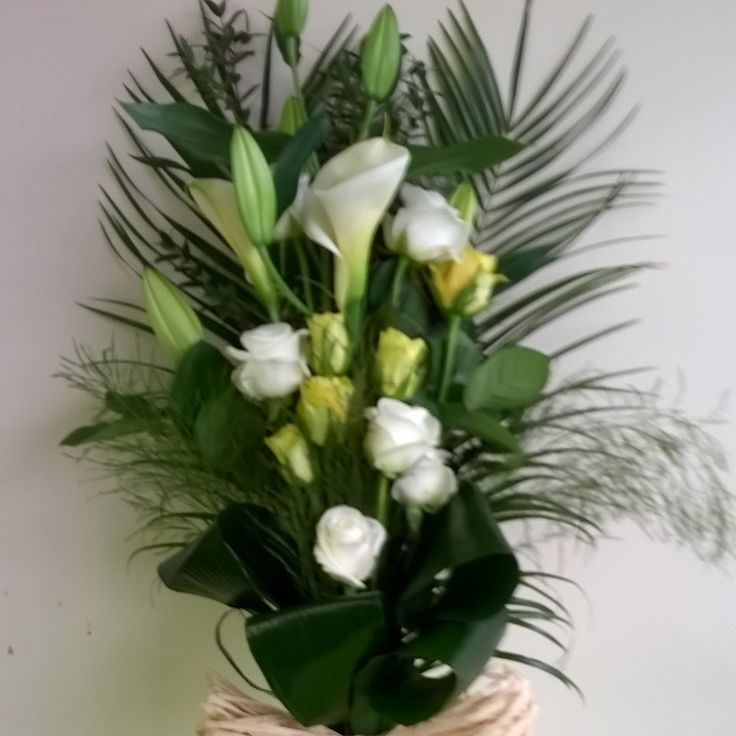 white lily and yellow rose tied sheaf sympathy funeral tribute