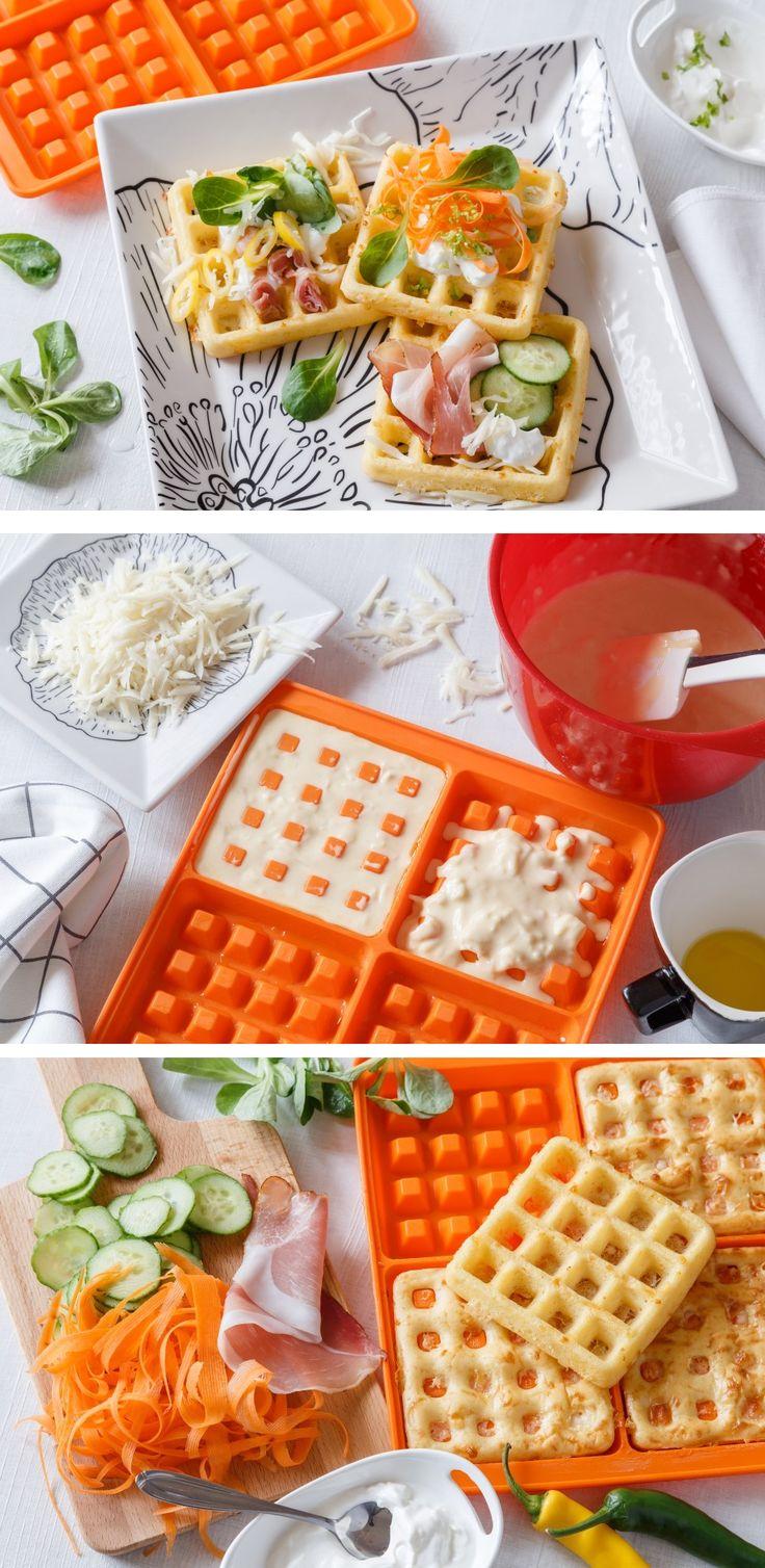 Vafle se dají zpracovat na spoustu způsobů. Sladkou úpravu už jsme pro vás měli, teď jsme vyzkoušeli těsto, kterému dodá chuť sýr. A upéct je pak můžete v silikonové formě v troubě.