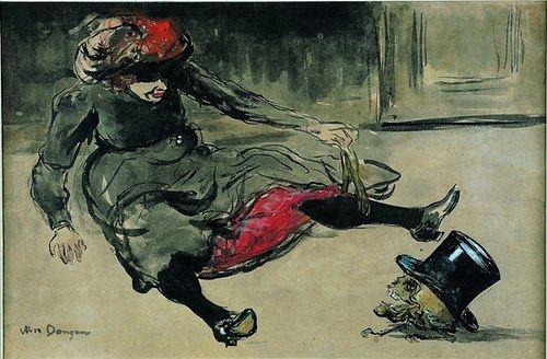 Kees van Dongen, Bebedora de absenta, 1902. Tinta, aguada gris, tiza negra, acuarela y gouache.