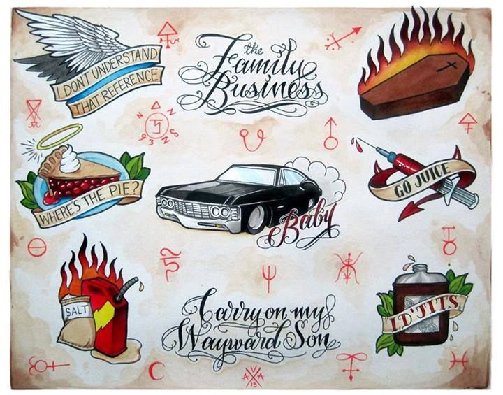 Supernatural tattoos. Don't know whether to pin this under geek or tattoos lol