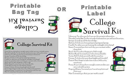 College Survival Kit...printable