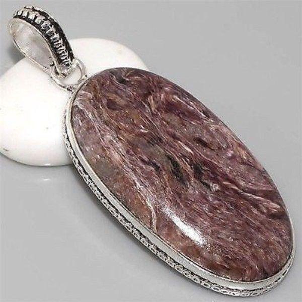 Large Charoite, Vintage Style, Silver Gemstone Pendant 58mm