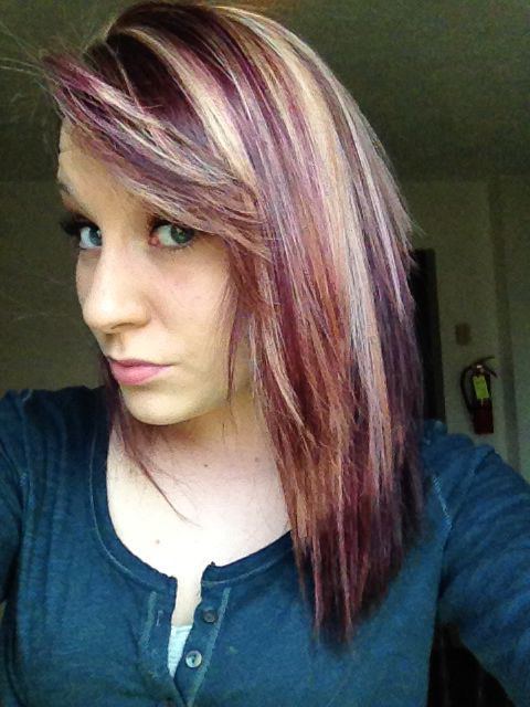 Got My Hair Done A Dark Purple With Blonde Highlights Love