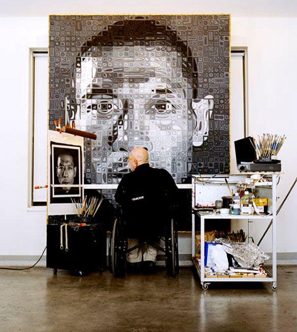 Chuck Close in his studio