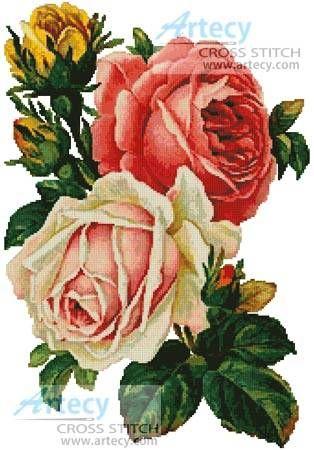Victorian roses cross stitch pattern