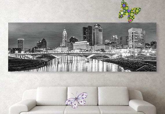 Columbus Ohio Skyline Panoramic Monochrome Decor Black And White Cityscape Print Scioto River Columbus Skyline B W Panorama Wall Art Print Downtown Colum