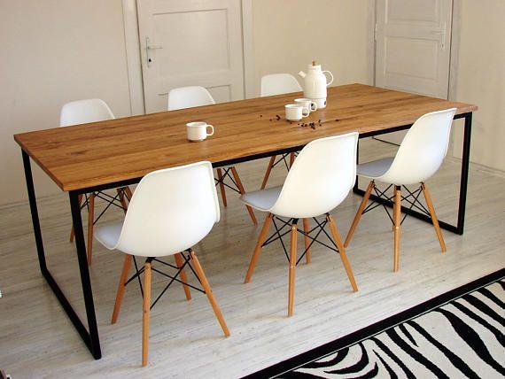 Table A Manger Industrielle Basic Nio Table A Cadre En Acier Moderne Table De Cuisine En Metal Et En Bois Massif Tables Style Industriel Industrial Dining Table Kitchen Table Wood Wood