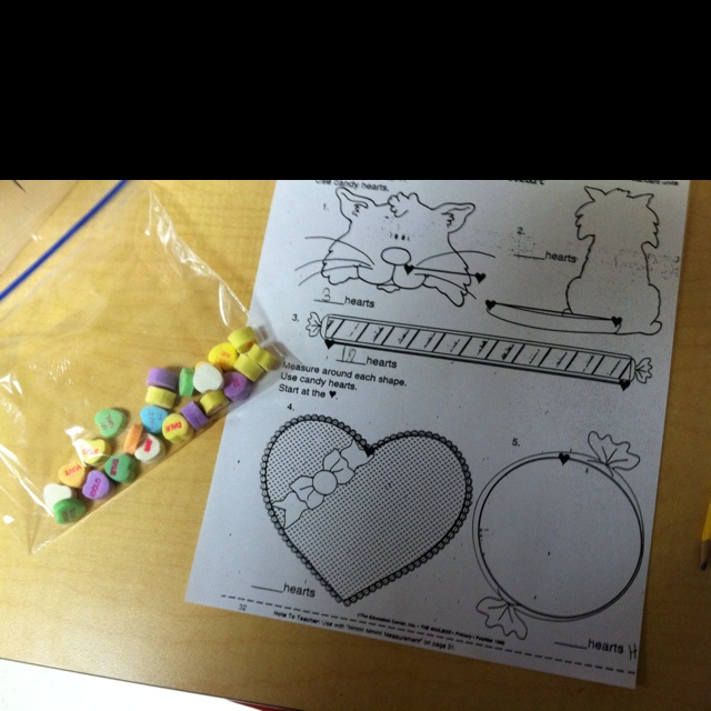 Nonstandard Measurement With Candy Hearts Valentine I