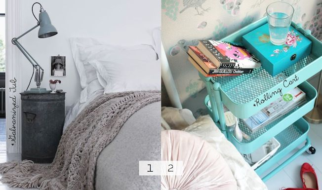 Love the Ikea rolling cart as a nightstand idea.  I wanted this thing anyway!