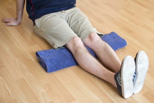Stiffness in the knees means the loss of range of motion. To prevent stiffness and rehabilitate stiff knees, use a series of range-of-motion exercises. Work at these exercises until you can do these 30 times twice a day. Once the exercises are finished, wrap an ice pack in a washcloth or dishtowel and apply it to your knees.