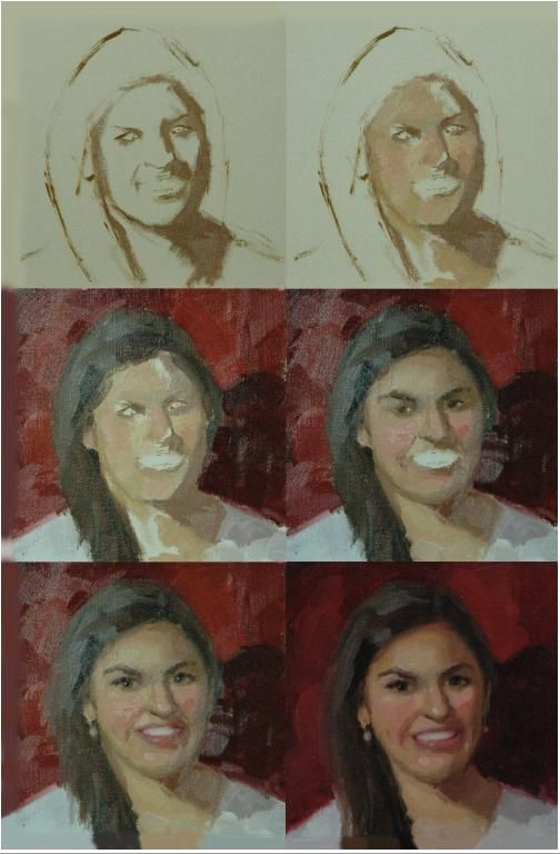 a step by step series of a portrait painted in oil from life making. Black Bedroom Furniture Sets. Home Design Ideas