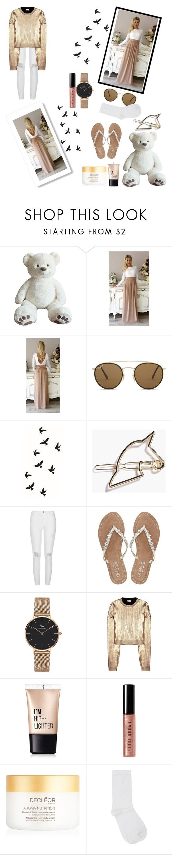 """""""Gold fashion💫⭐️🌟✨"""" by uniandcorn1 ❤ liked on Polyvore featuring Ray-Ban, River Island, M&Co, Daniel Wellington, Yves Saint Laurent, Charlotte Russe, Bobbi Brown Cosmetics, Aroma and plus size dresses"""