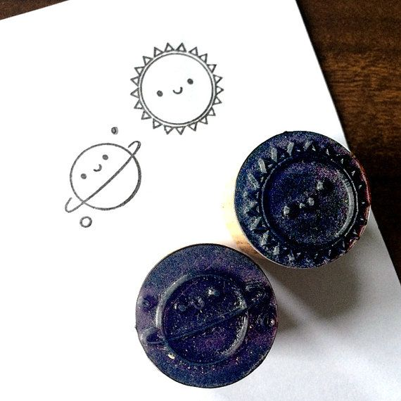 2 Polymer Stamps  Kawaii Sun & Planet by askingfortrouble on Etsy, £5.00