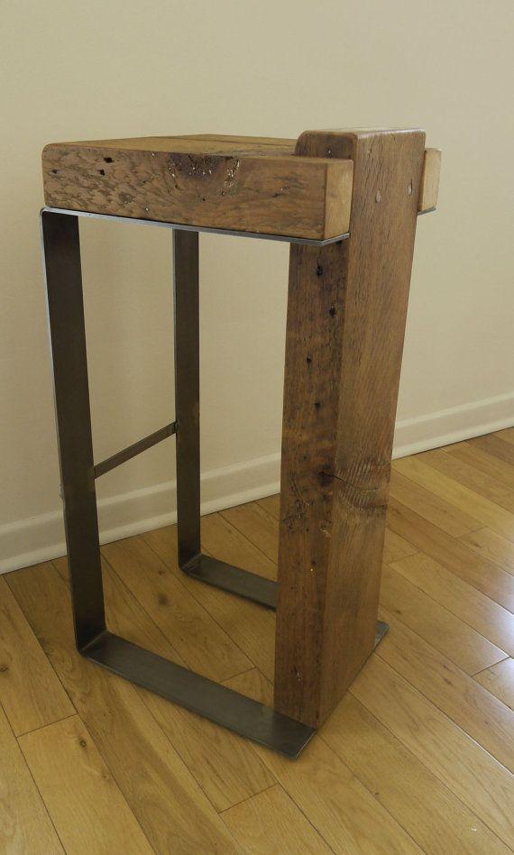 Reclaimed Wood and Metal Handmade Bar Stool. by TicinoDesign