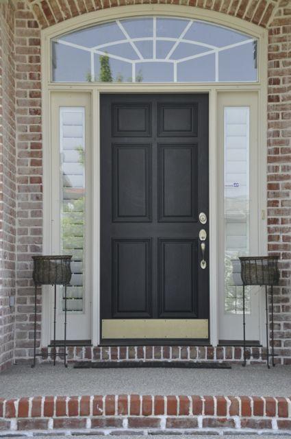 Black front door looks great against brick siding & 128 best Elegant Entryways images on Pinterest | Front doors ... pezcame.com