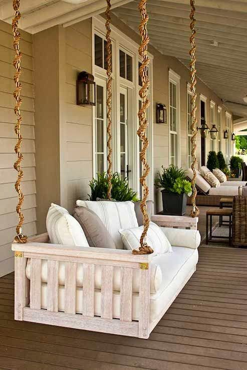 FARM PLAN Wrap Around .porch Swing, Love The Rope To Disguise The Chain.  Could Go In Front Porch, Or Back Patio Deck