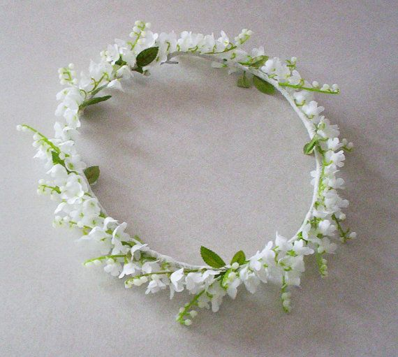 Wedding Flower Crown Lilly of the Valley -Caroline- Flower girl circlet, Bridal Halo headpiece silk flowers hair wreath Spring garland