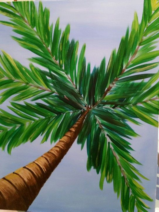 Palm Tree Perspective in Acrylic 16x20 gallery wrapped canvas painting. Ready to…