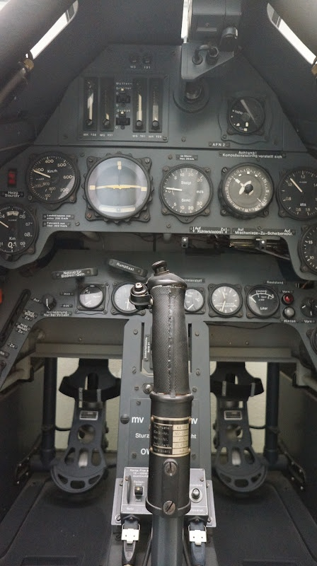 Focke-Wulf 190 instruments panel, control stick and rudder pedals.
