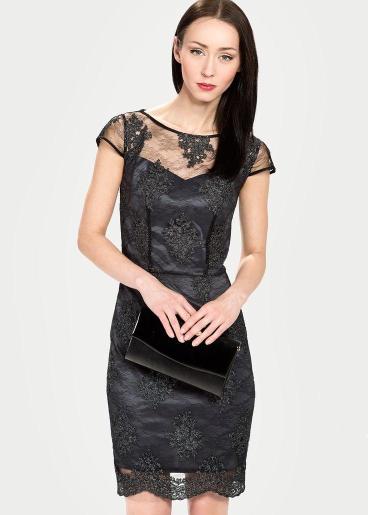 Koktajlowa sukienka z połyskującego tiulu MAKALU