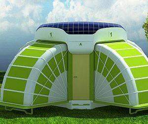 Solar powered temporary housing module expands to offer comfort and privacy. Wow!