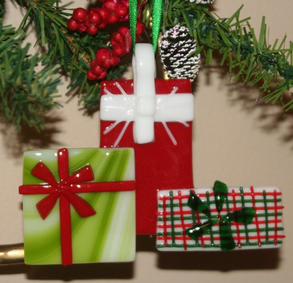 Wrapped gifts ornament fused glass xmas pinterest
