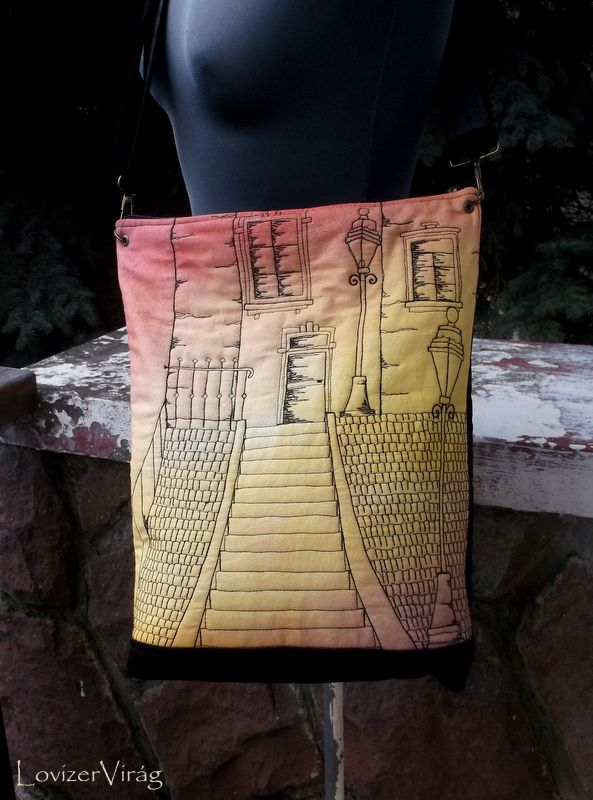 Hand painted and embroidered bag by ZerVir www.facebook.com/zervir