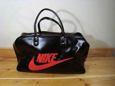 Vintage Nike Black Gym Duffle Bag Travelite Red Letters ...