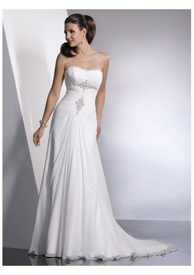 A-line sweetheart beach wedding dresses