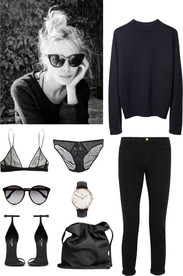 MINIMAL + CLASSIC: Untitled #84 by fleur-de-neige featuring frame denim boyfriend jeans La Garçonne Moderne vintage sweater / Yves Saint Laurent black bra / Frame denim boyfriend jeans / Cheap Monday mesh...